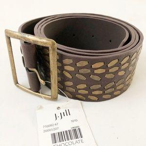 NWT J Jill Studded Brown Leather Belt M / L